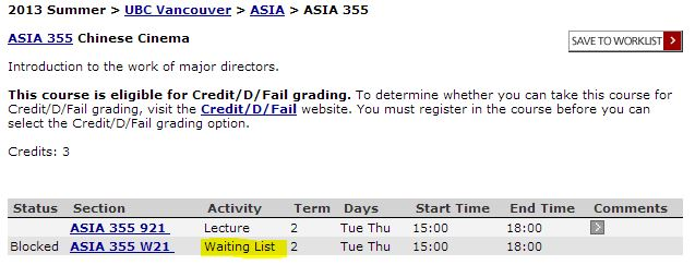 waitlist Asian studies