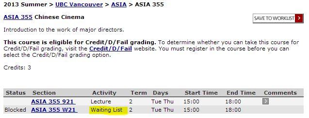 waitlist Asian studies