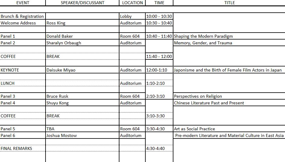 UBC Grad Conference Schedule